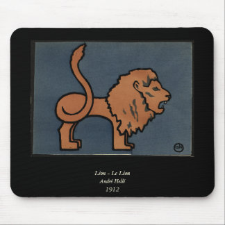 Lion - Antiquarian, Colorful Book Illustration Mouse Pad