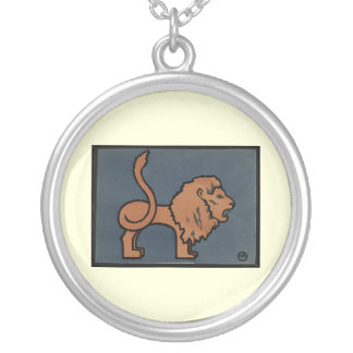 Lion - Antiquarian, Colorful Book Illustration Round Pendant Necklace