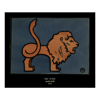 Lion - Antiquarian, Colorful Book Illustration Poster