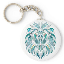 Lion art colorful abstract design keychain