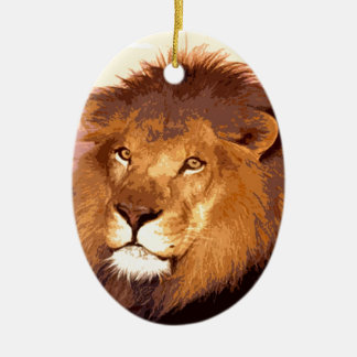 Lion Artwork Double-Sided Oval Ceramic Christmas Ornament
