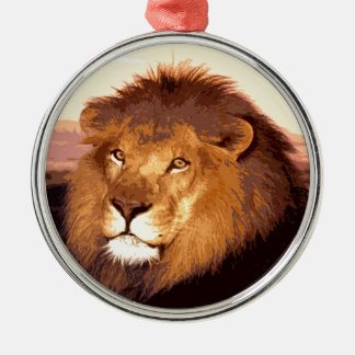 Lion Artwork Round Metal Christmas Ornament