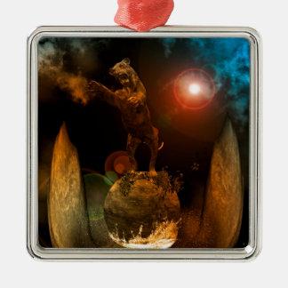 Lion as a stature square metal christmas ornament