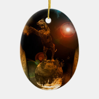 Lion as a stature Double-Sided oval ceramic christmas ornament