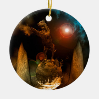 Lion as a stature Double-Sided ceramic round christmas ornament