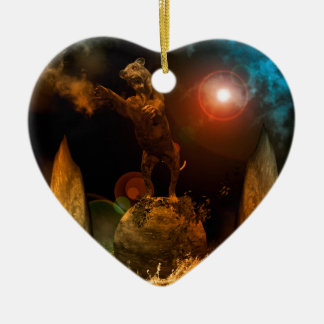 Lion as a stature Double-Sided heart ceramic christmas ornament