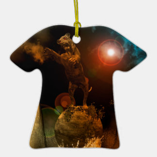 Lion as a stature Double-Sided T-Shirt ceramic christmas ornament