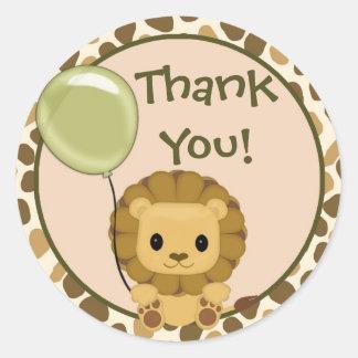 Lion Baby Shower blank label/seal Nali NJL#03C Classic Round Sticker