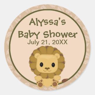 LION Baby Shower blank label/seal Nali NJL #04C Classic Round Sticker
