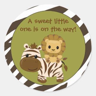 LION Baby Shower blank label/seal Nali NJL #06C Classic Round Sticker