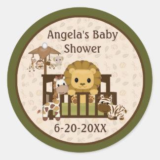 Lion Baby Shower blank labels/seals NALI NJL #01 Classic Round Sticker