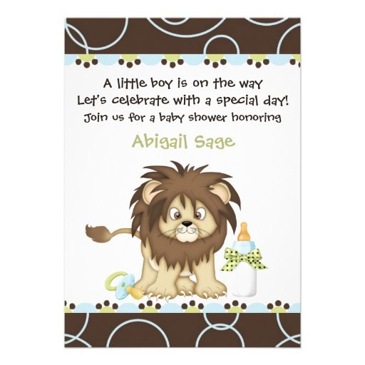 Lion Baby Shower Invitation for Boys
