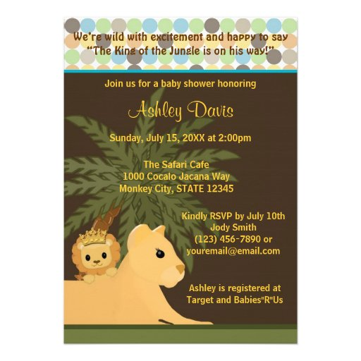 personalized lion king invitations | custominvitations4u, Baby shower invitations