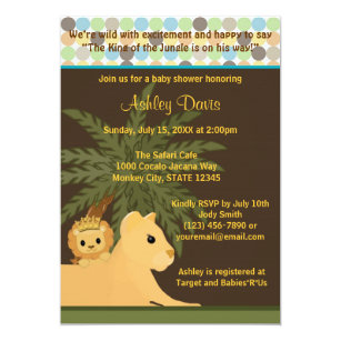 Lion king invitations announcements zazzle lion baby shower invitation king of the jungle kot filmwisefo Images