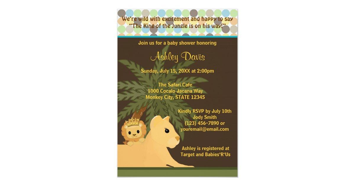 LION Baby Shower Invitation King of the Jungle KOT | Zazzle.com