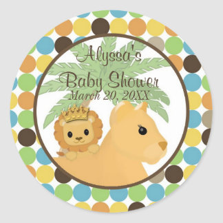 LION Baby Shower Invitation King of the Jungle Round Stickers
