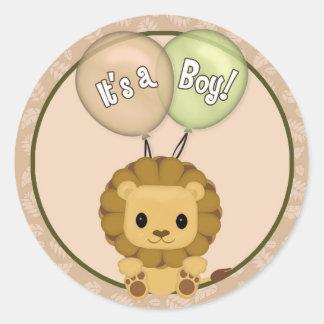 LION Baby Shower It's a Boy! seal Nali NJL #05C Classic Round Sticker