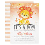 Lion Baby Shower Orange Boy Invitation