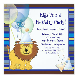 "Lion Balloons Boy 3rd Birthday Party Invitation 5.25"" Square Invitation Card"