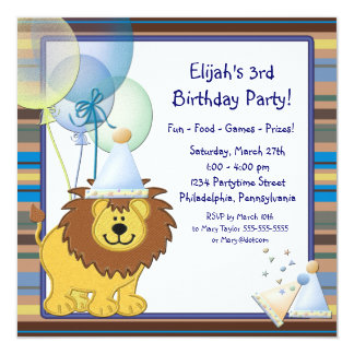 "Lion Balloons Boy 3rd Birthday Party 5.25"" Square Invitation Card"