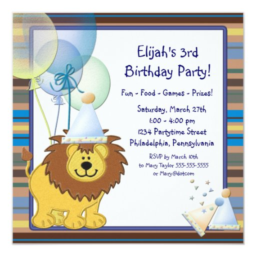 Lion Balloons Boy 3rd Birthday Party Invitations