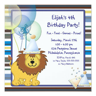 Lion Balloons Boy 4th Birthday Party Invitation