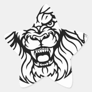 Lion Baseball Ball Sports Mascot Star Sticker