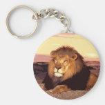 Lion Basic Round Button Keychain