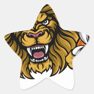 Lion Basketball Ball Sports Mascot Star Sticker