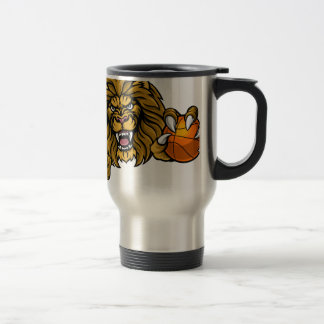 Lion Basketball Ball Sports Mascot Travel Mug