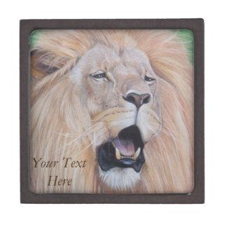 Lion big cat wildlife realist art original keepsake box