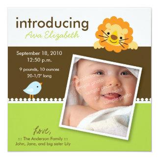 Lion & Birdie Designer Birth Announcement (green)