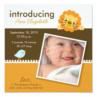 Lion & Birdie Designer Birth Announcement (orange)