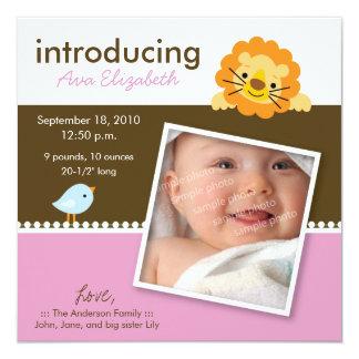Lion & Birdie Designer Birth Announcement (pink)