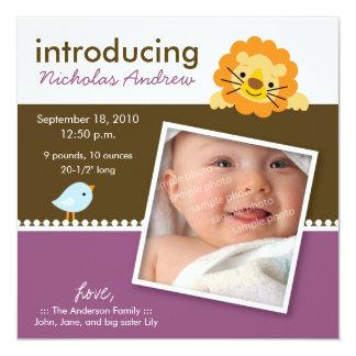 Lion & Birdie Designer Birth Announcement (purple)
