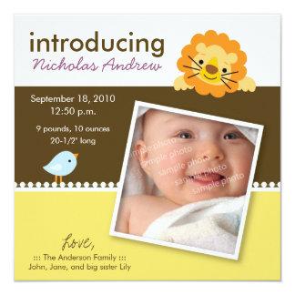 Lion & Birdie Designer Birth Announcement (yellow)