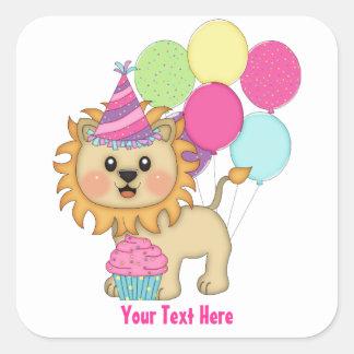 Lion Birthday Girl (personalized) Square Sticker