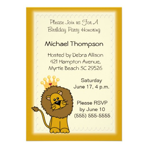 Personalized Lion king Invitations – Lion Birthday Invitations