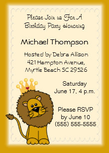 Lion king party cards greeting photo cards zazzle lion birthday invitations filmwisefo