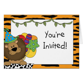 Lion Birthday Party Invitations Greeting Card