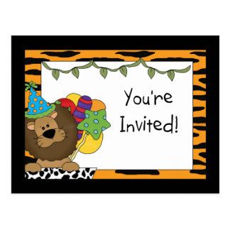 Lion Birthday Party Invitations Postcards