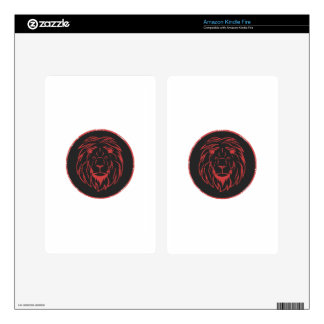 Lion Black&Red colors Decals For Kindle Fire