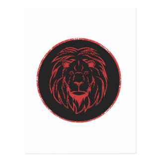 Lion Black&Red colors Postcard