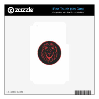 Lion Black&Red colors Skins For iPod Touch 4G