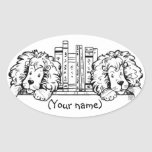 Lion Book Ends Personalized Oval Sticker