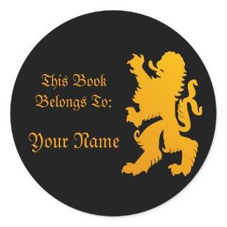 Lion Book Label Sticker sticker