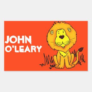 Lion book plate name orange id label sticker