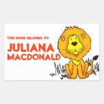 Lion book plate name orange white id label sticker