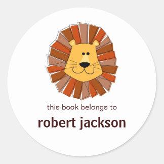 Lion Bookplates Classic Round Sticker