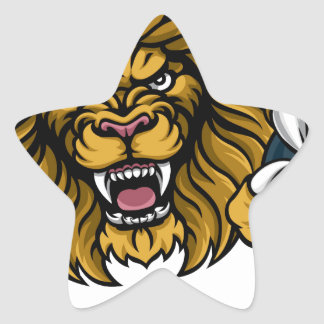 Lion Bowling Ball Sports Mascot Star Sticker